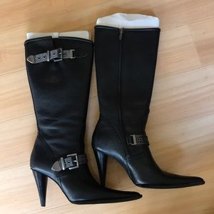 Harley Davidson Black Leather Heeled Boot